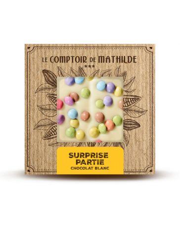 TABLETTE DE CHOCOLAT BLANC - SURPRISE PARTY - 80G - LE COMPTOIR DE MATHILDE