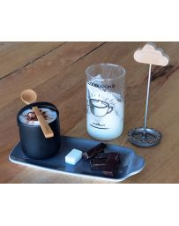 Kit Barista - MOUSSEUR + 2 TASSES + 1 LIVRE RECETTES + 5 POCHOIRS - COOKUT