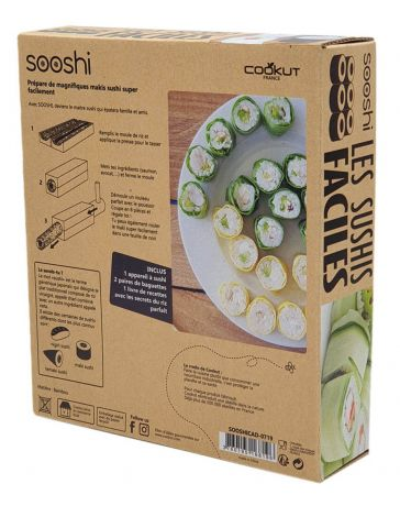COFFRET CADEAU SOOSHI - 1 APPAREIL À SUSHI/MAKI + 4 BAGUETTES + 1 LIVRE DE RECETTES - COOKUT