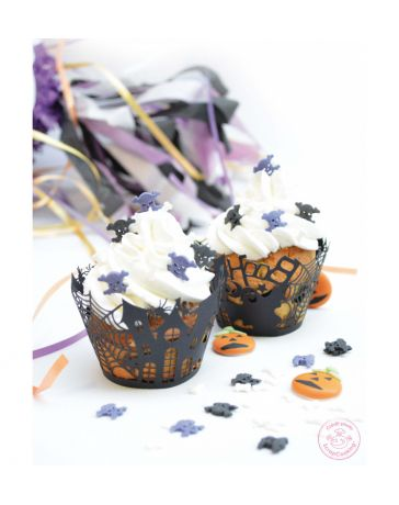 Contours dentelle pour cupcakes Halloween x 12