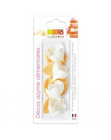 Décos AZYME - 4 Roses blanches + 6 Feuilles dorées - SCRAPCOOKING