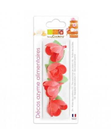 Décos AZYME - 4 Roses rouges + 6 Feuilles vertes - SCRAPCOOKING