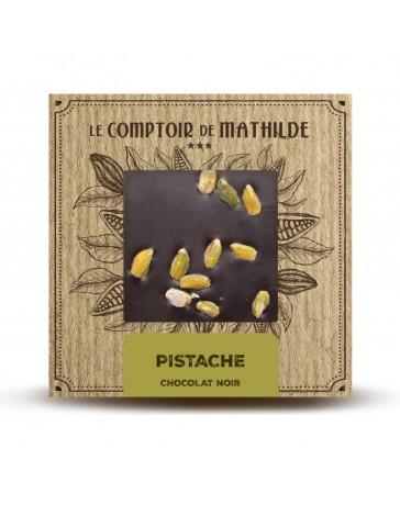 TABLETTE DE CHOCOLAT NOIR - PISTACHES - LE COMPTOIR DE MATHILDE