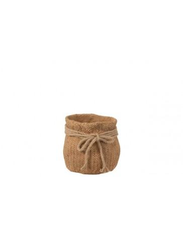 Cachepot imitation jute corde - Ciment - S - Naturel - J-LINE